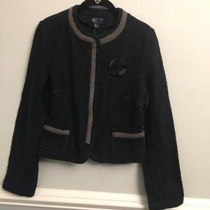 American Eagle Tweed Dark Teal Snap Button Blazer
